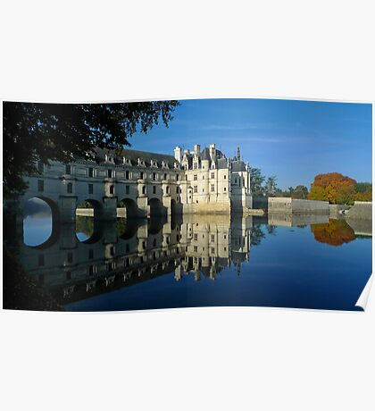Chenonceau castle in autumn Poster