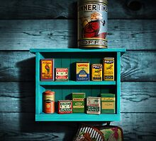 Vintage Spice Rack and Spice Tins, spice Vintage Spice Tins, Nostalgic Spice Cans Art, Americana Kitchen Decor  by Walt Curlee