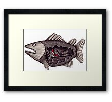Sleeping inside a fish surreal black and white pen ink drawing Framed Print