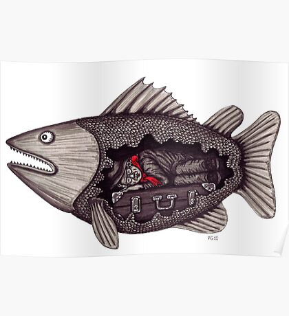 Sleeping inside a fish surreal black and white pen ink drawing Poster