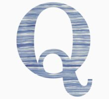 Letter Q Blue Watercolor Stripes Monogram Initial One Piece - Short Sleeve
