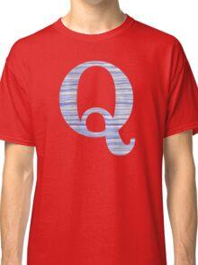 Letter Q Blue Watercolor Stripes Monogram Initial Classic T-Shirt