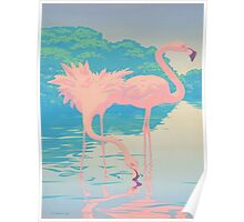 Pink Flamingos Tropical Florida abstract Retro pop art Poster