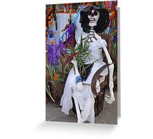 Catrina sitting at a altar for dead persons Greeting Card
