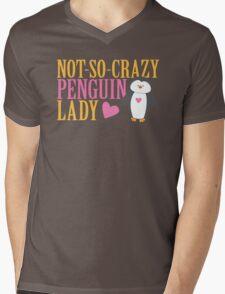 NO-SO-CRAZY penguin LADY Mens V-Neck T-Shirt