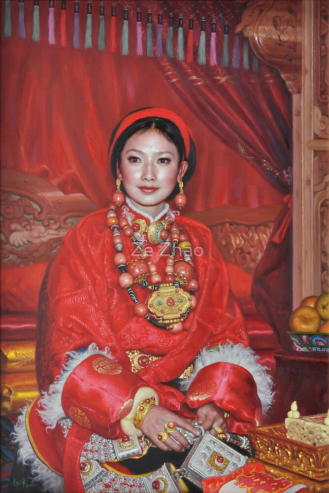 OIL PAINTING 金花 仲咖 by Ze Zhao