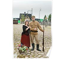 Couple of lady and soldier in retro style picture Poster