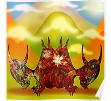 Pencil Dragons and Clouds Poster