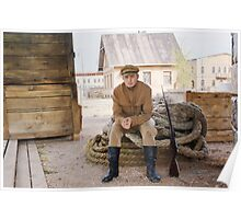 Retro style picture with soldier sitting on the rope Poster