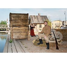 Lady and soldier with  gun in retro style picture Photographic Print