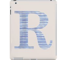 Letter R Blue Watercolor Stripes Monogram Initial iPad Case/Skin