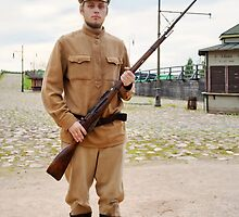 Soldier with  gun in retro style picture by fotorobs