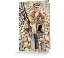 Retro style picture with smoking soldier. Greeting Card