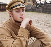 Retro style picture with resting soldier. by fotorobs