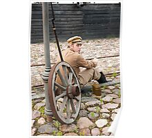 Retro style picture with resting soldier. Poster