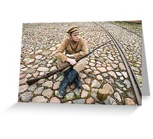 Soldier with boiler and gun in retro style picture Greeting Card