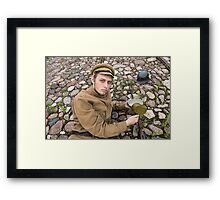 Soldier with boiler and gun in retro style picture Framed Print