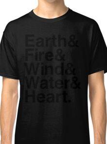 Earth&Fire&Wind&Water&Heart (Black) Classic T-Shirt