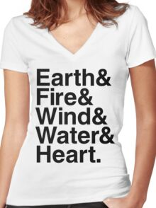 Earth&Fire&Wind&Water&Heart (Black) Women's Fitted V-Neck T-Shirt