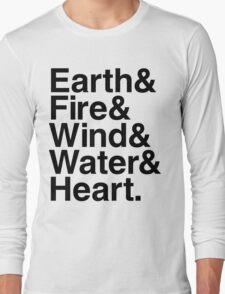 Earth&Fire&Wind&Water&Heart (Black) Long Sleeve T-Shirt