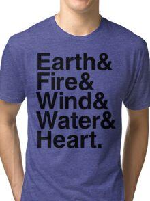 Earth&Fire&Wind&Water&Heart (Black) Tri-blend T-Shirt