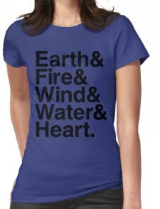 Earth&Fire&Wind&Water&Heart (Black) Womens Fitted T-Shirt