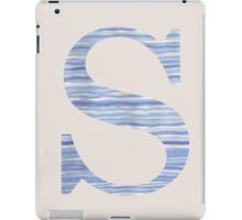 Letter S Blue Watercolor Stripes Monogram Initial iPad Case/Skin