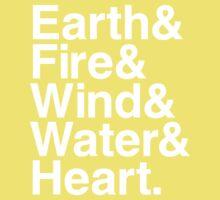 Earth&Fire&Wind&Water&Heart (White) Kids Tee