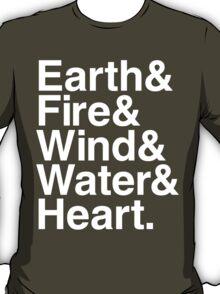 Earth&Fire&Wind&Water&Heart (White) T-Shirt