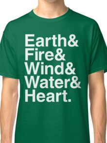Earth&Fire&Wind&Water&Heart (White) Classic T-Shirt