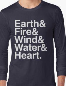 Earth&Fire&Wind&Water&Heart (White) Long Sleeve T-Shirt