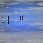 Reflections of people in Salar de Uyuni, Bolivia by Camila Gelber