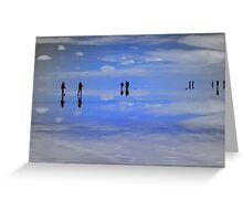 Reflections of people in Salar de Uyuni, Bolivia Greeting Card