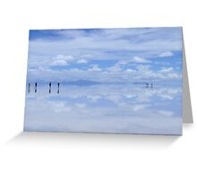 People gliding on Heaven on Earth, Salar de Uyuni, Bolivia Greeting Card