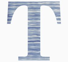 Letter T Blue Watercolor Stripes Monogram Initial Baby Tee