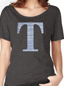 Letter T Blue Watercolor Stripes Monogram Initial Women's Relaxed Fit T-Shirt