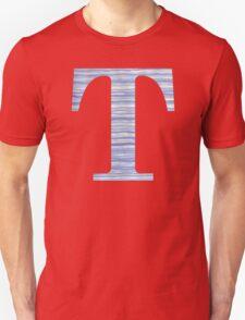 Letter T Blue Watercolor Stripes Monogram Initial Unisex T-Shirt