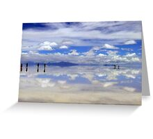 People gliding on the glorious Salar de Uyuni, Bolivia Greeting Card