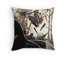 The Red Scarf Rampage Throw Pillow