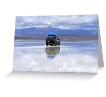 Jeep reflection on amazing Salar de Uyuni, Bolivia Greeting Card