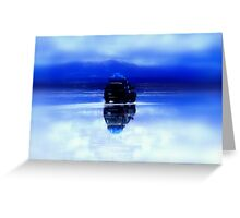 Deep Blue reflection of jeep on Salar de Uyuni, Bolivia Greeting Card