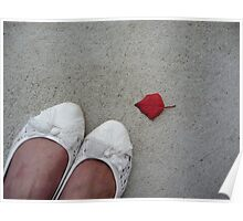 White pumps on the concrete Poster