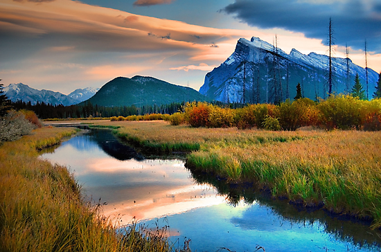 Evening Light and Autumn in Banff by Tara  Turner