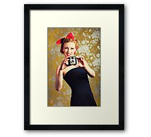 1940's woman using a camera Framed Print