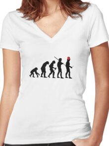 Evolution of the Time Lord - Light Colors Women's Fitted V-Neck T-Shirt