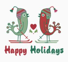 Ski Birds Happy Holidays by Andi Bird