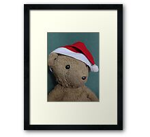 Scruffles with Christmas Hat Framed Print