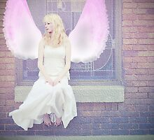One day she'd have real wings, and fly away from this place, but for now she would dream... by laruecherie