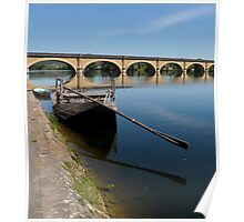 Boat Barge By Bridge Poster