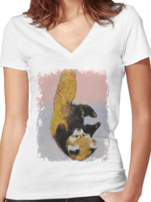 Red Panda Cub Women's Fitted V-Neck T-Shirt